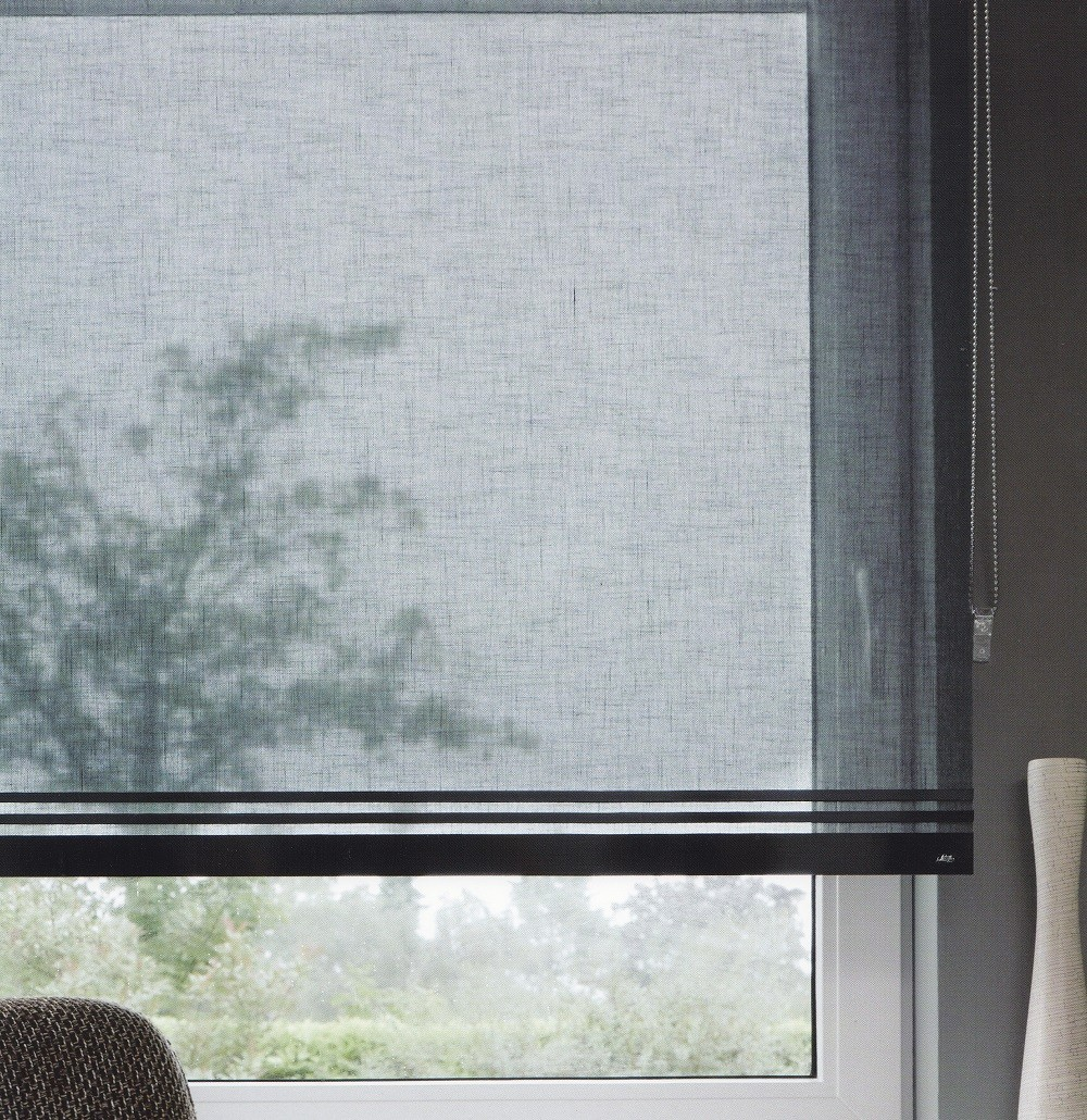 Deco 1 - Luxaflex Sheer Grey/Black Roller Blind